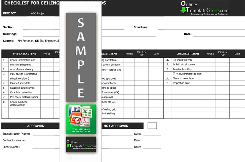 Quality Control Forms Construction Templates