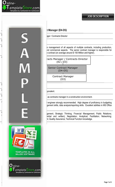 job descr snr contract man excel template contract manager job description
