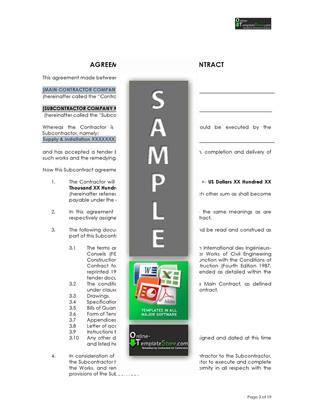 Subcontract Agreement Template Kidscareer Info 6